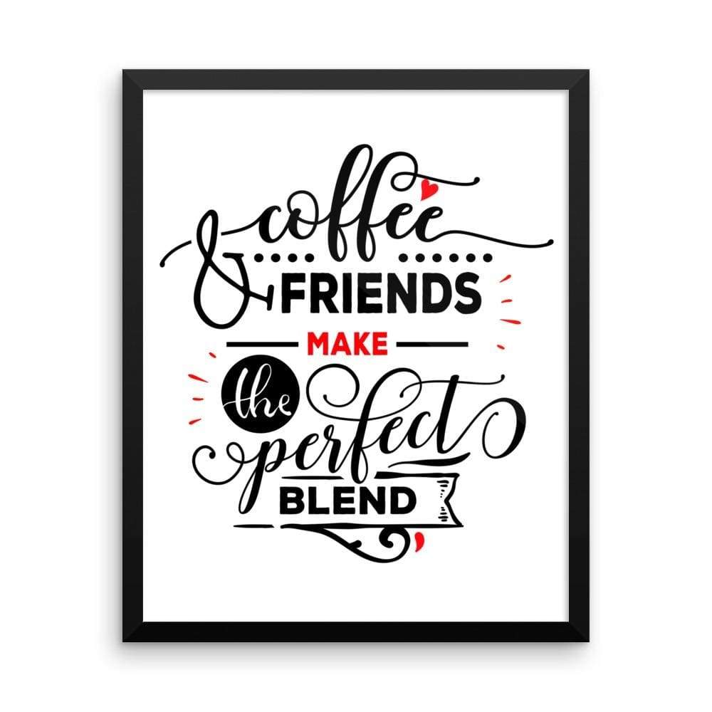 """ Coffee and Friends"" Black Framed Premium Luster Print Posters-Home - Wall Arts & Decors - Prints & Posters-Maison d'Elite-16×20-Black frame-wooden-Très Elite"