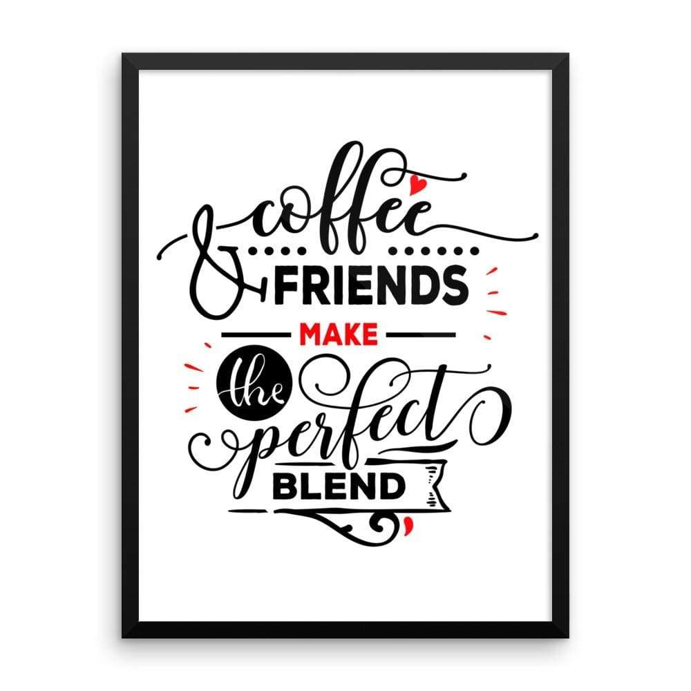 """ Coffee and Friends"" Black Framed Premium Luster Print Posters-Home - Wall Arts & Decors - Prints & Posters-Maison d'Elite-18×24-Black frame-wooden-Très Elite"