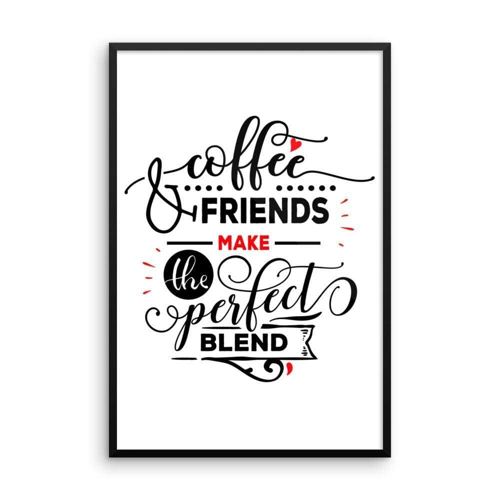 """ Coffee and Friends"" Black Framed Premium Luster Print Posters-Home - Wall Arts & Decors - Prints & Posters-Maison d'Elite-24×36-Black frame-wooden-Très Elite"