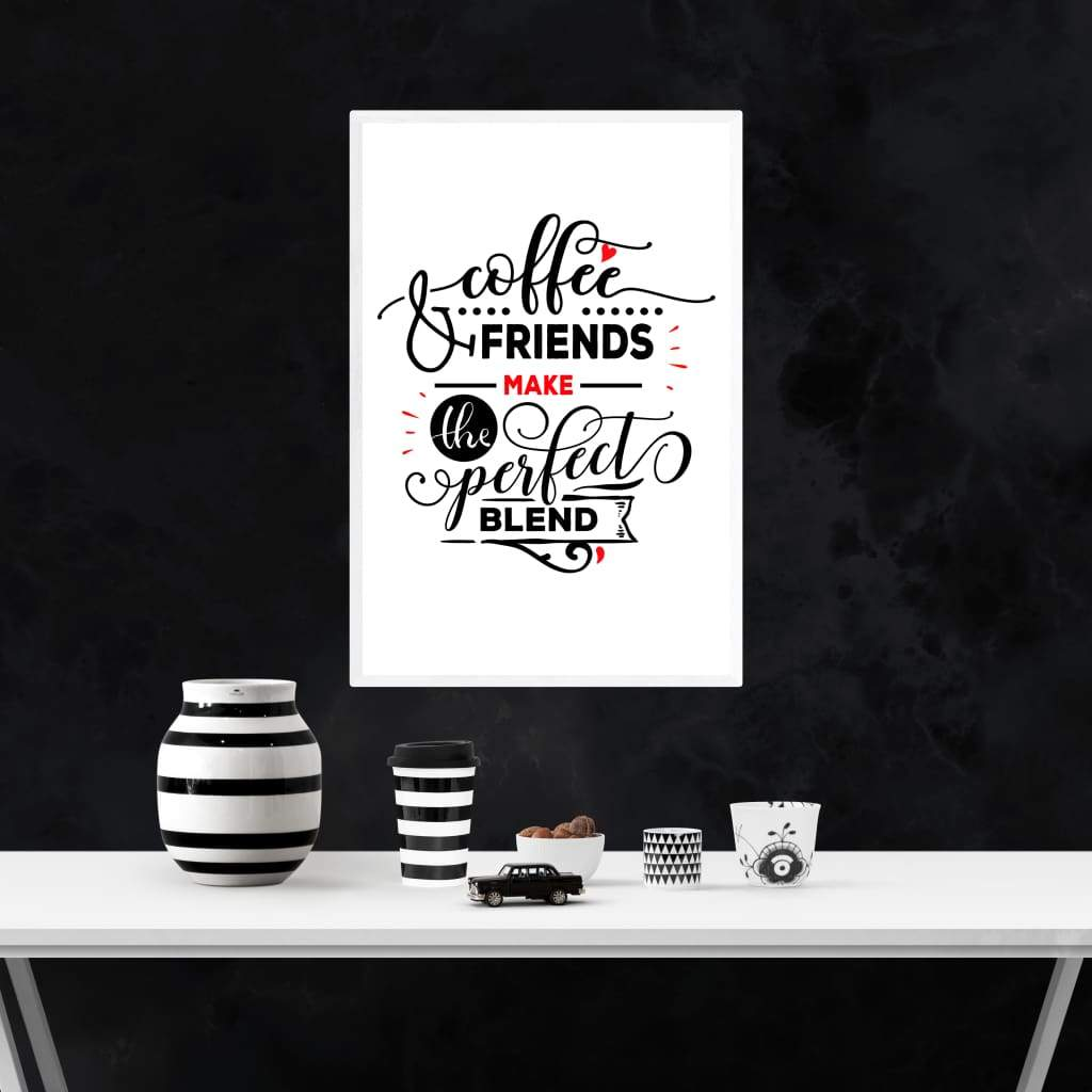 """ Coffee and Friends"" Black Framed Premium Luster Print Posters-Home - Wall Arts & Decors - Prints & Posters-Maison d'Elite-Très Elite"