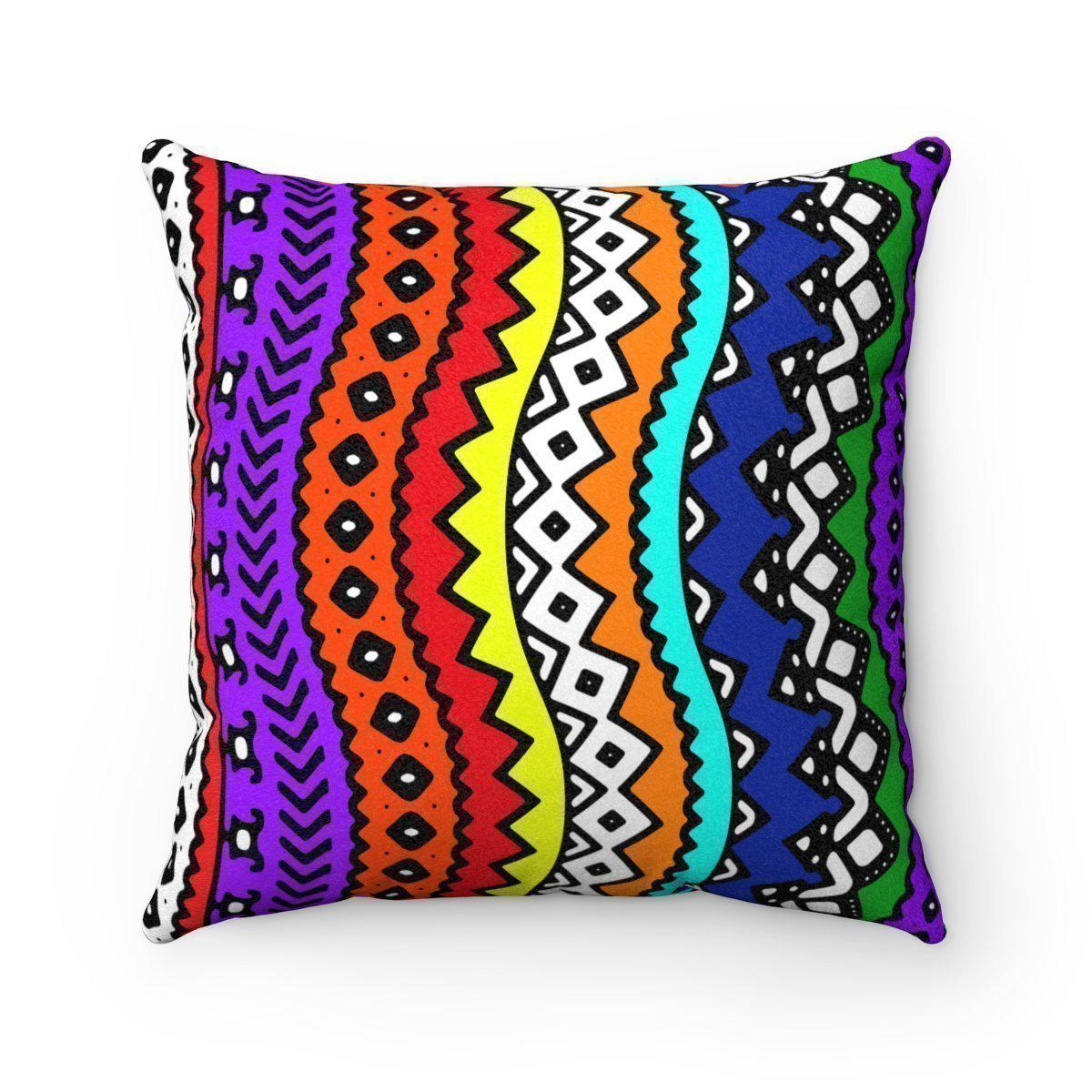 Faux suede tribal decorative pillow w/insert-Home Decor - Decorative Accents - Pillows & Throws - Decorative Pillows-Maison d'Elite-16x16-Très Elite