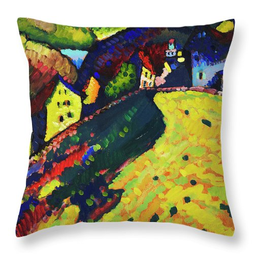 Houses at Murnau by Wassily Kandinsky - Throw Pillow