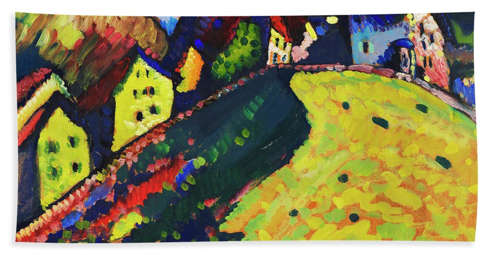 Houses at Murnau by Wassily Kandinsky - Beach Towel