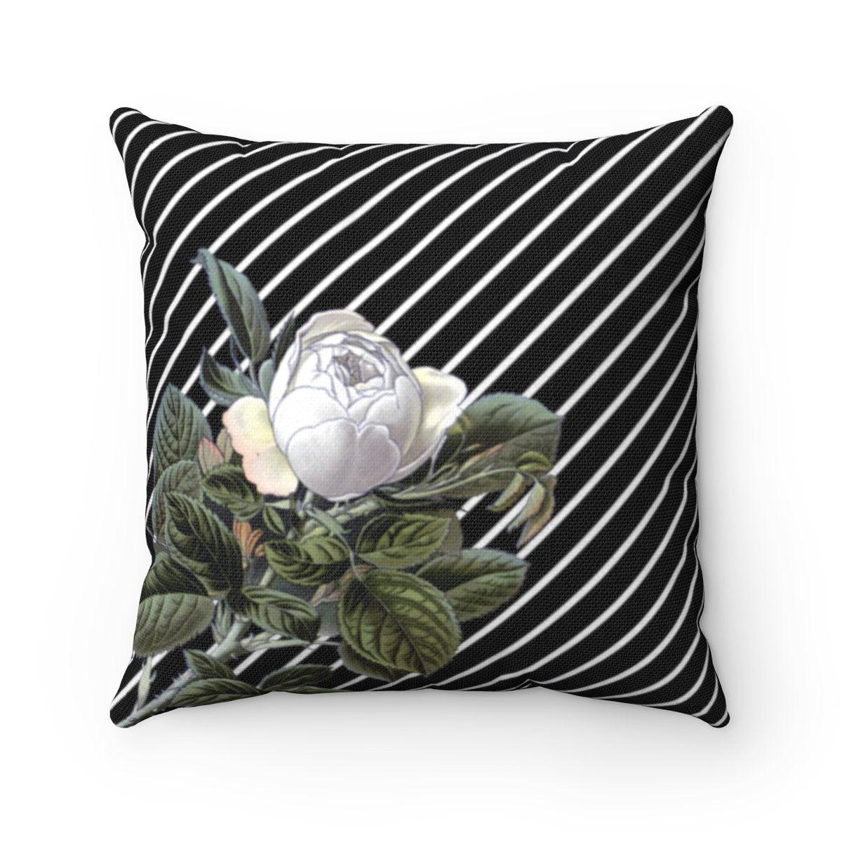 Luxury Camellia Striped Floral decorative cushion cover-Home Decor - Decorative Accents - Pillows & Throws - Decorative Pillows-Maison d'Elite-14x14-Très Elite