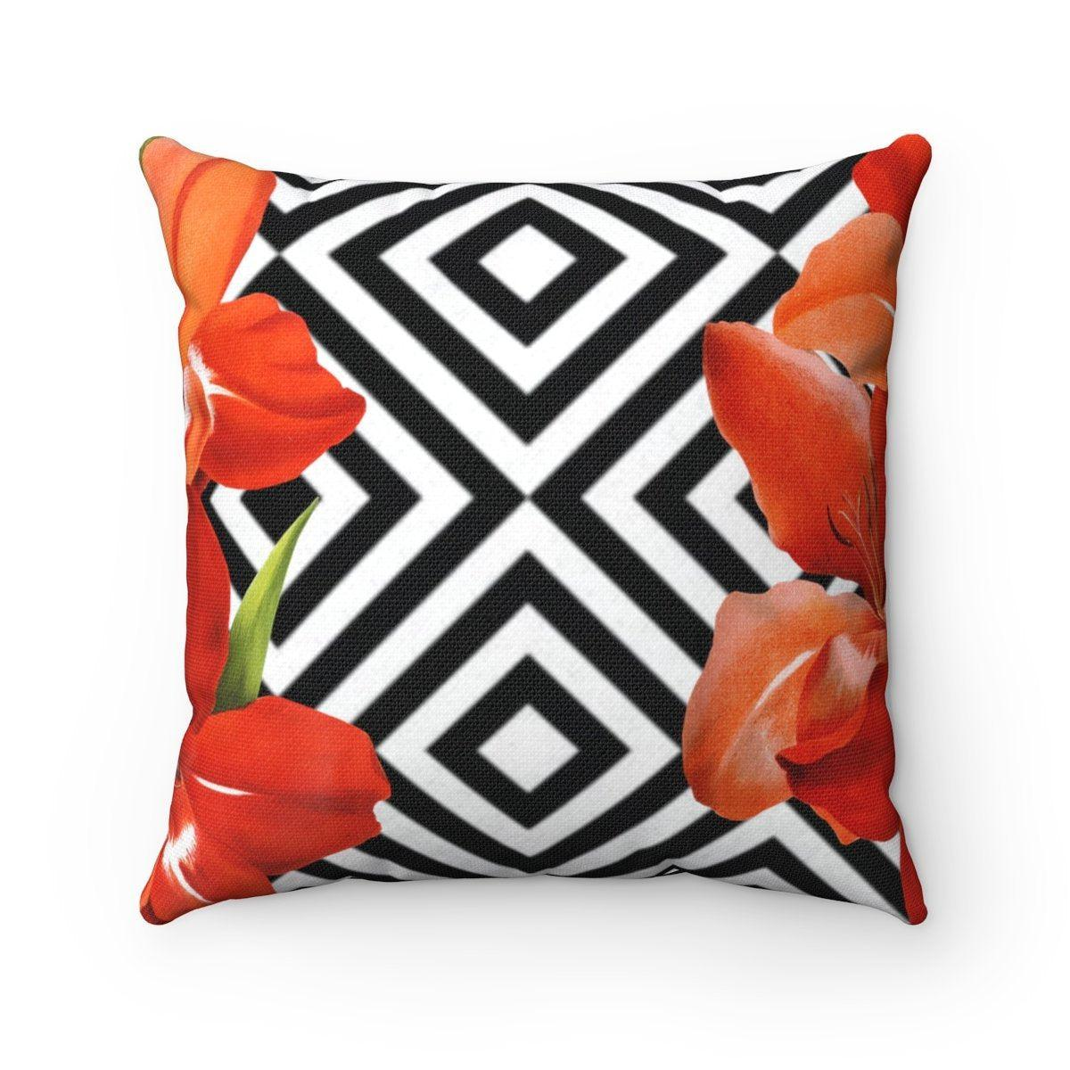 Luxury lilies | Floral abstract decorative cushion cover-Home Decor - Decorative Accents - Pillows & Throws - Decorative Pillows-Maison d'Elite-14x14-Très Elite