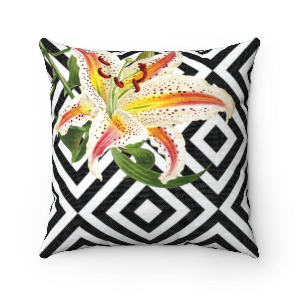 Luxury lily| Floral abstract decorative cushion cover-Home Decor - Decorative Accents - Pillows & Throws - Decorative Pillows-Maison d'Elite-14x14-Très Elite