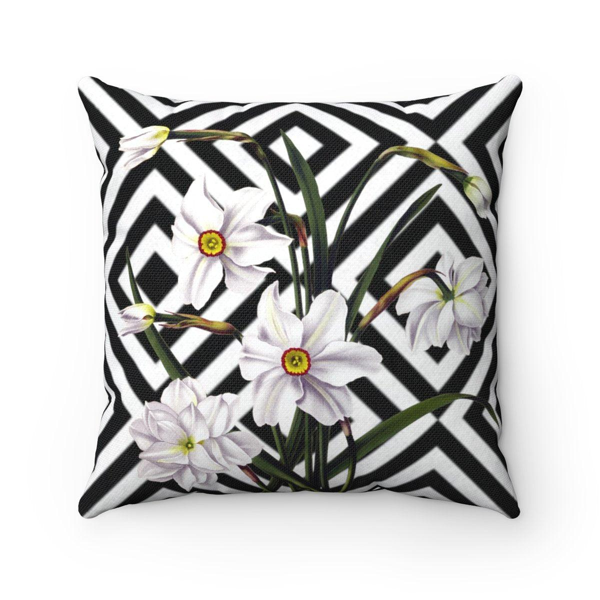 Luxury Narcissus | Floral abstract decorative cushion cover-Home Decor - Decorative Accents - Pillows & Throws - Decorative Pillows-Maison d'Elite-14x14-Très Elite