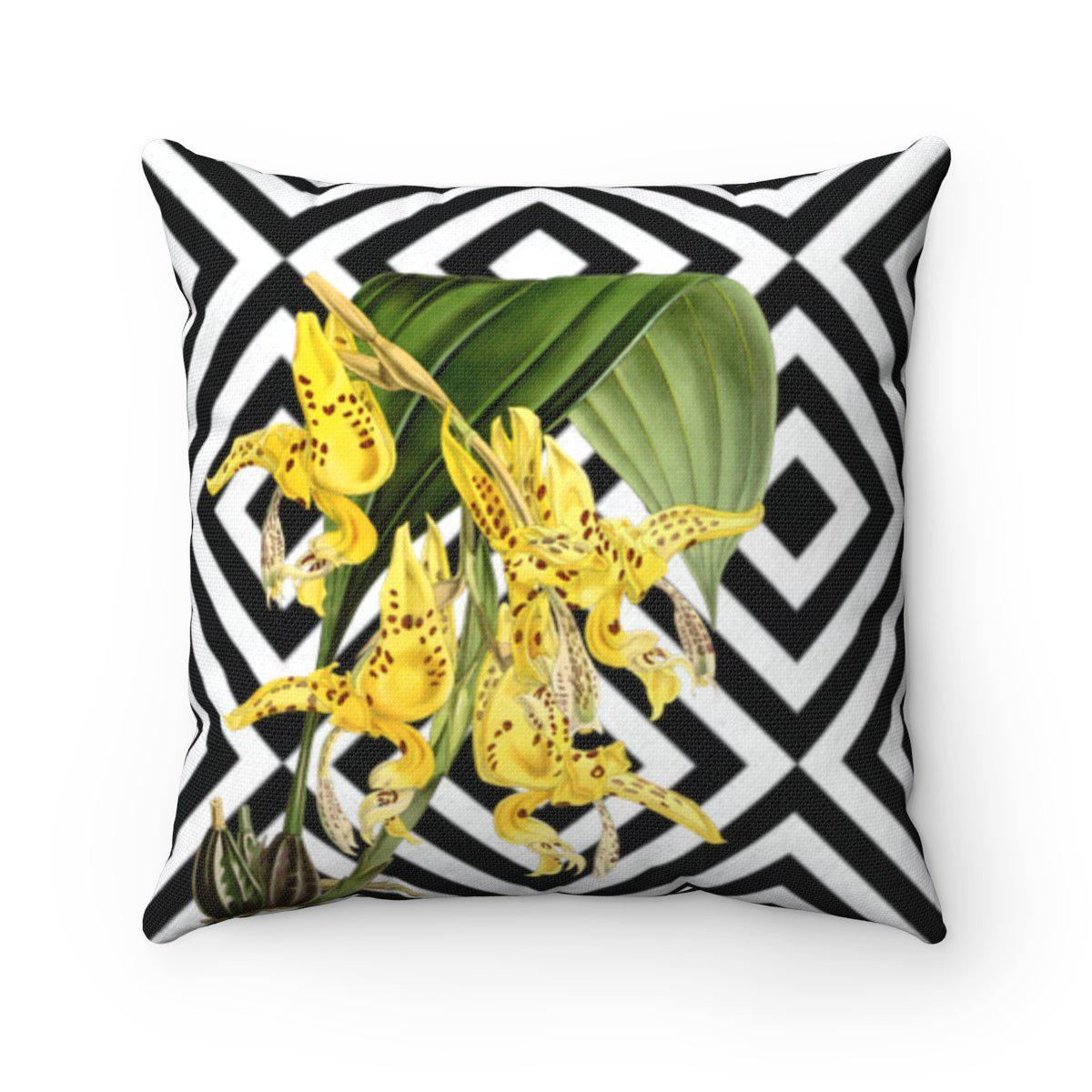 Luxury orchids | Floral abstract decorative cushion cover-Home Decor - Decorative Accents - Pillows & Throws - Decorative Pillows-Maison d'Elite-14x14-Très Elite