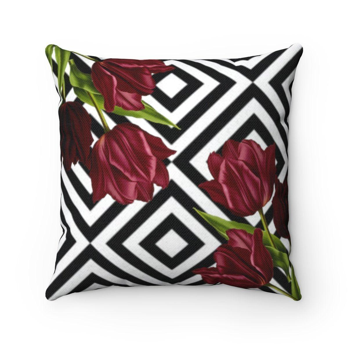 Luxury Tulips | Floral abstract decorative cushion cover-Home Decor - Decorative Accents - Pillows & Throws - Decorative Pillows-Maison d'Elite-14x14-Très Elite