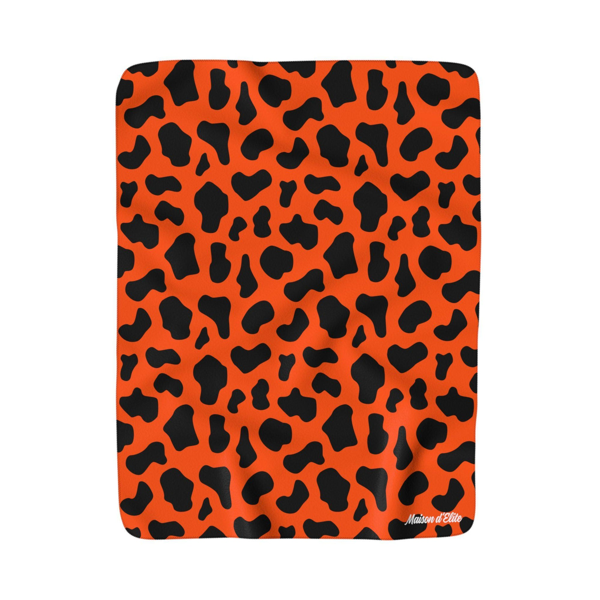 Maison d'Elite Animal print Sherpa Fleece Blanket-Home - Throws & Blankets-Maison d'Elite-50x60-Red Orange-Fleece-Très Elite