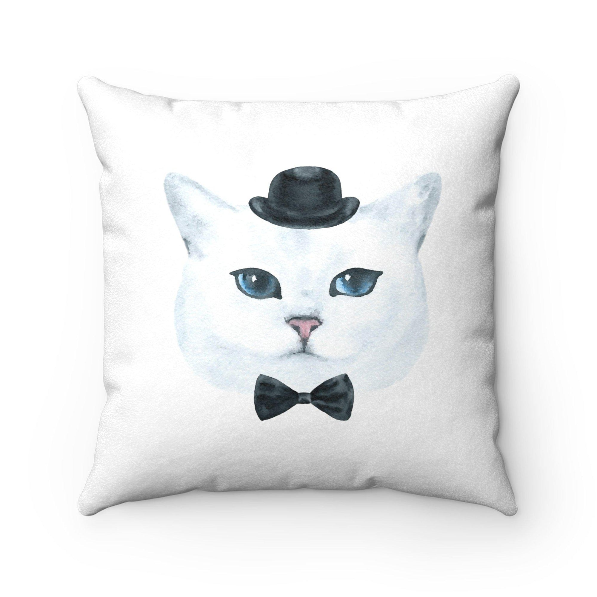 Maison d'Elite cat with hat decorative cushion-Home Decor - Decorative Accents - Pillows & Throws - Decorative Pillows-Maison d'Elite-14x14-Black/White-Faux suede-Très Elite