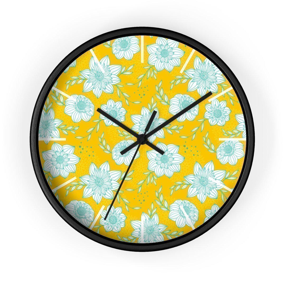Maison d'Elite Floral Wall clock-Home Décor › Accents › Wall Decor › Clocks & Sculptures-Maison d'Elite-Black-Black-Très Elite