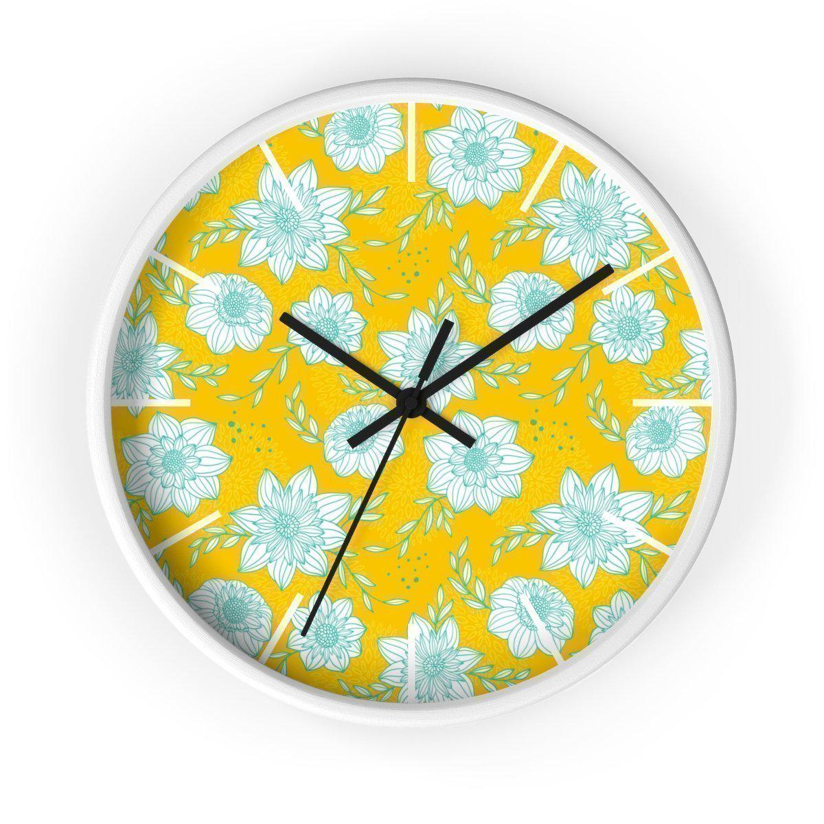 Maison d'Elite Floral Wall clock-Home Décor › Accents › Wall Decor › Clocks & Sculptures-Maison d'Elite-White-Black-Très Elite