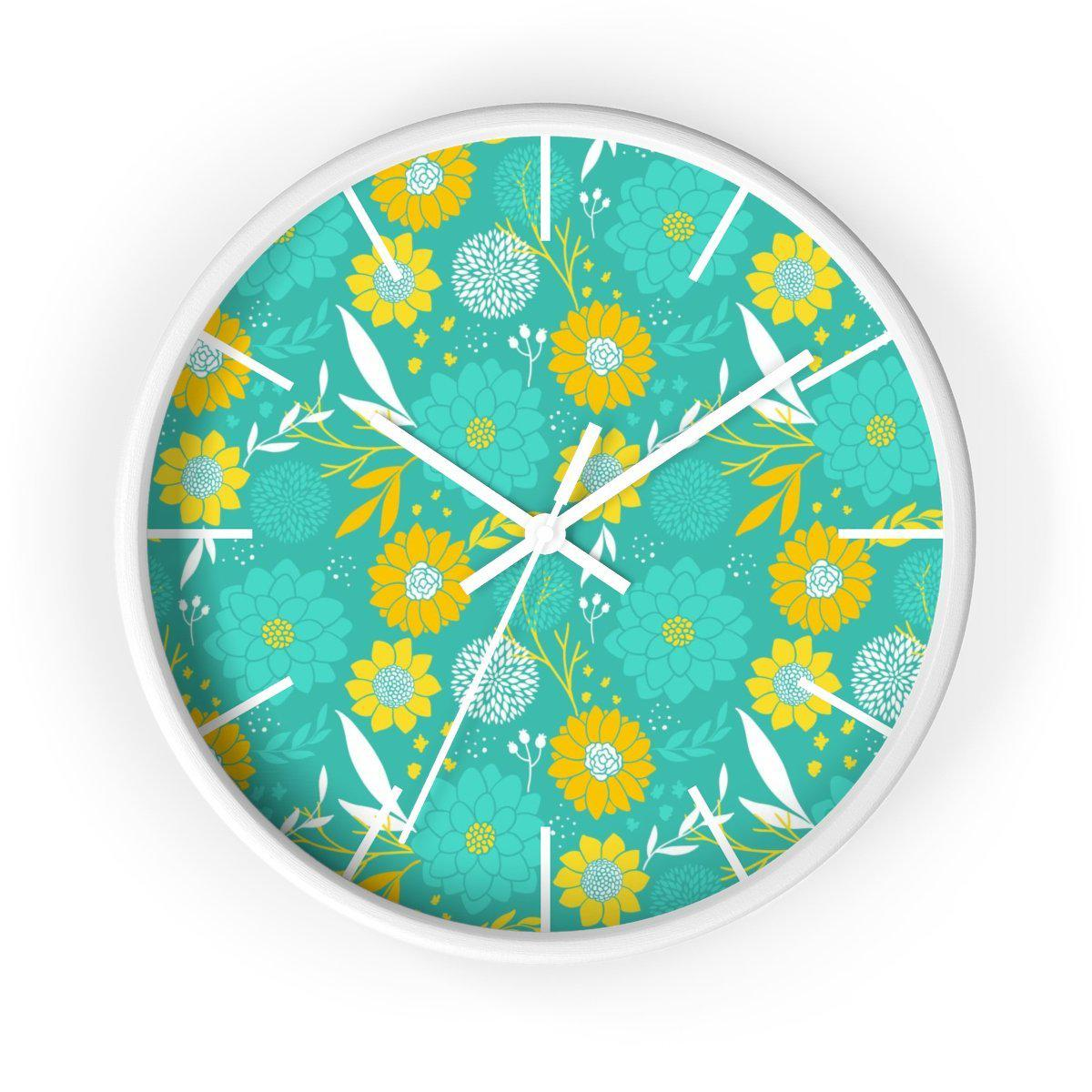 Maison d'Elite Floral Wall clock-Home Décor › Accents › Wall Decor › Clocks & Sculptures-Maison d'Elite-White-White-Très Elite