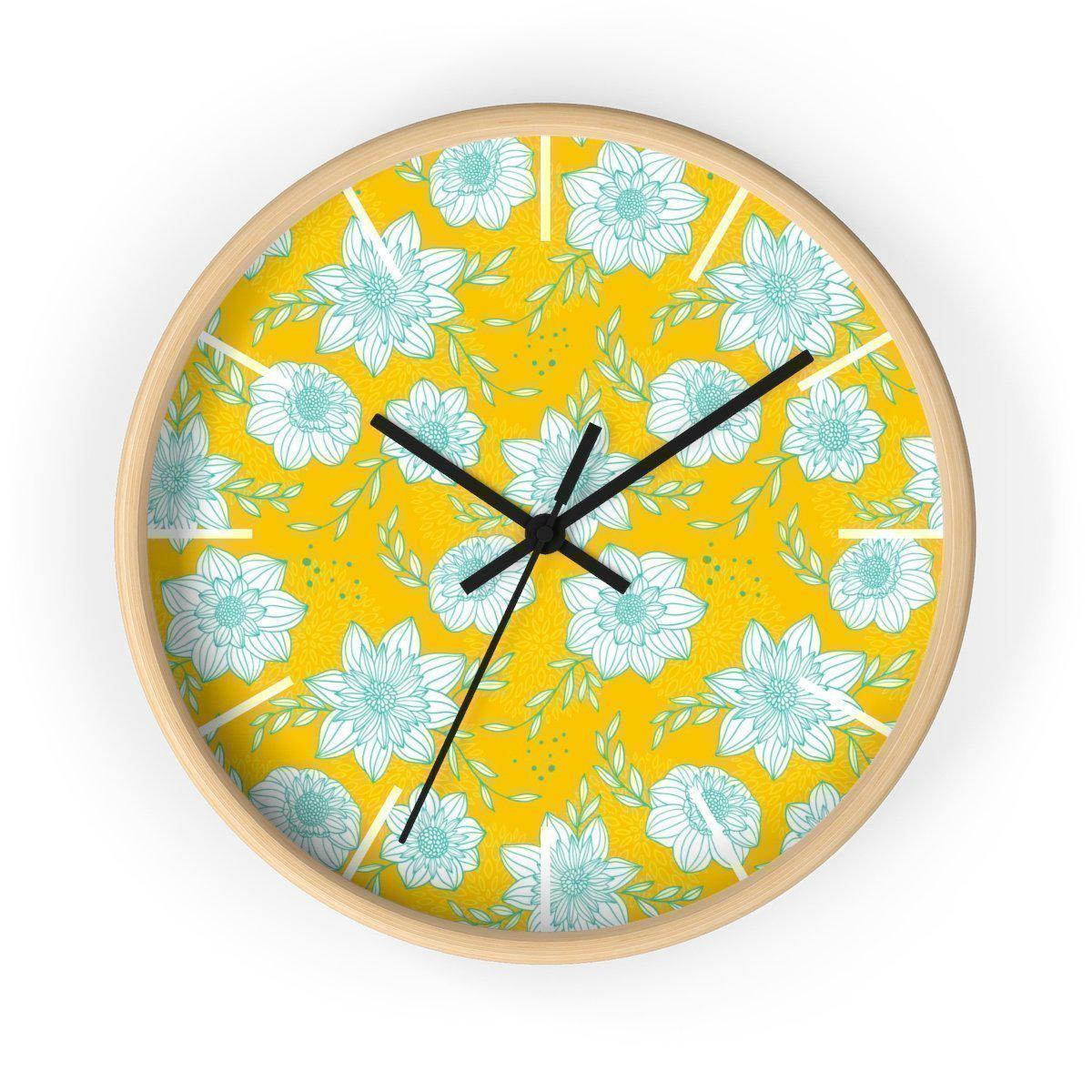 Maison d'Elite Floral Wall clock-Home Décor › Accents › Wall Decor › Clocks & Sculptures-Maison d'Elite-Wooden-Black-Très Elite