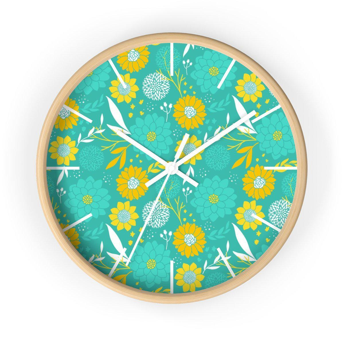 Maison d'Elite Floral Wall clock-Home Décor › Accents › Wall Decor › Clocks & Sculptures-Maison d'Elite-Wooden-White-Très Elite