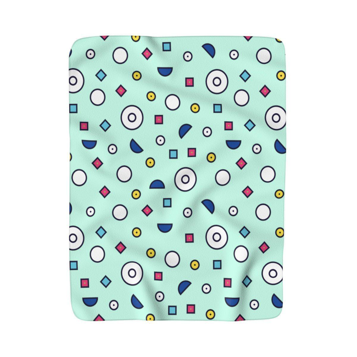 Maison d'Elite Geometric Sherpa Fleece Blanket, Turquoise-Home - Throws & Blankets-Maison d'Elite-50x60-Très Elite
