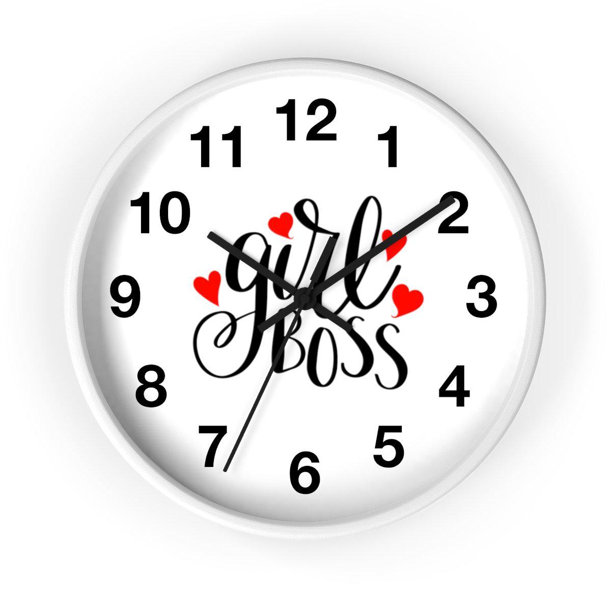 Maison d'Elite Girl Boss Wall clock-Home - Clocks - Wall clocks-Maison d'Elite-White-Black-Très Elite