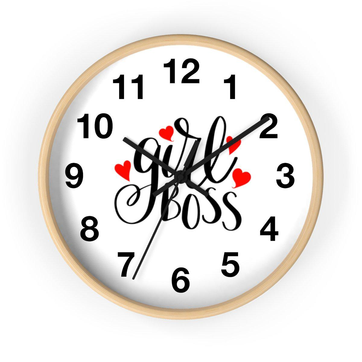 Maison d'Elite Girl Boss Wall clock-Home - Clocks - Wall clocks-Maison d'Elite-Wooden-Black-Très Elite