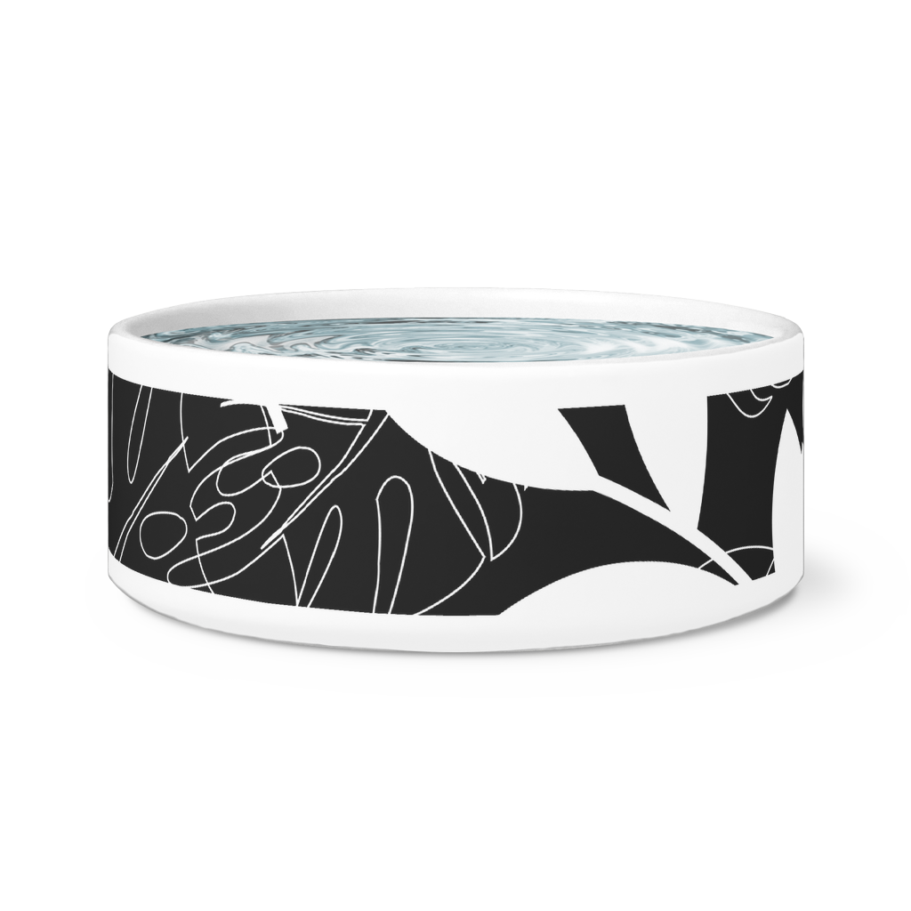 Modern Contemporary Ceramic Dog or Cat Bowl-Pet Supplies - Pet Bowls & Feeding-Maison d'Elite-Black tropical-Très Elite