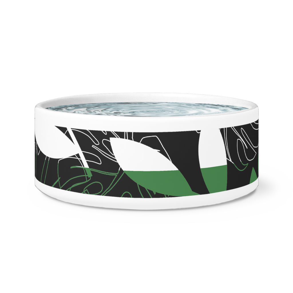Modern Contemporary Ceramic Dog or Cat Bowl-Pet Supplies - Pet Bowls & Feeding-Maison d'Elite-Green/ White tropical-Très Elite