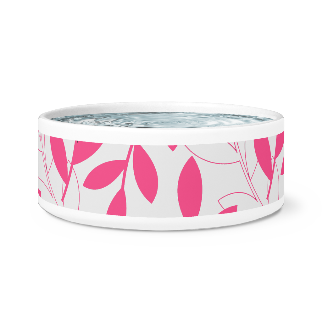 Modern Contemporary Ceramic Dog or Cat Bowl-Pet Supplies - Pet Bowls & Feeding-Maison d'Elite-Hot pink/white-Très Elite