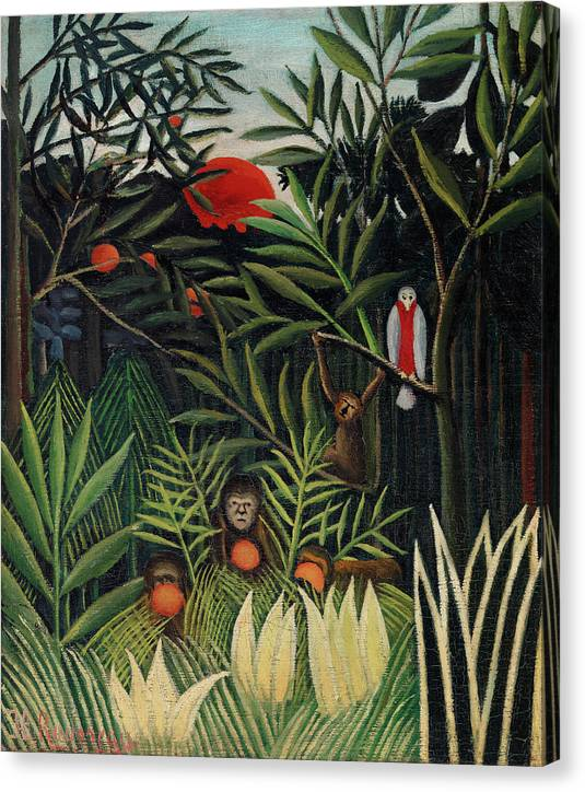 Monkeys and Parrot in the Virgin Forest by Henri Rousseau - Canvas Print