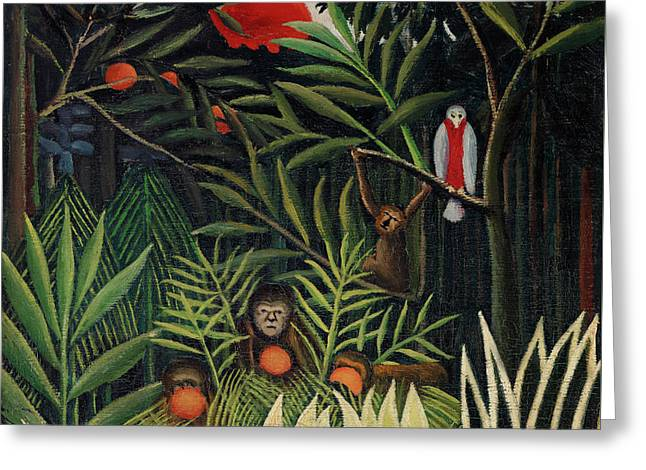Monkeys and Parrot in the Virgin Forest by Henri Rousseau - Greeting Card