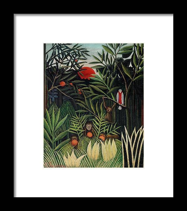 Monkeys and Parrot in the Virgin Forest by Henri Rousseau - Framed Print