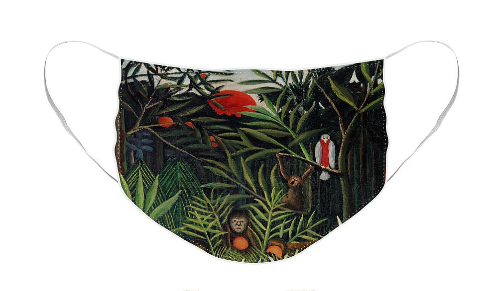 Monkeys and Parrot in the Virgin Forest by Henri Rousseau - Face Mask