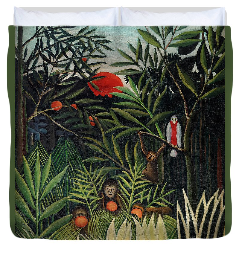 Monkeys and Parrot in the Virgin Forest by Henri Rousseau - Duvet Cover