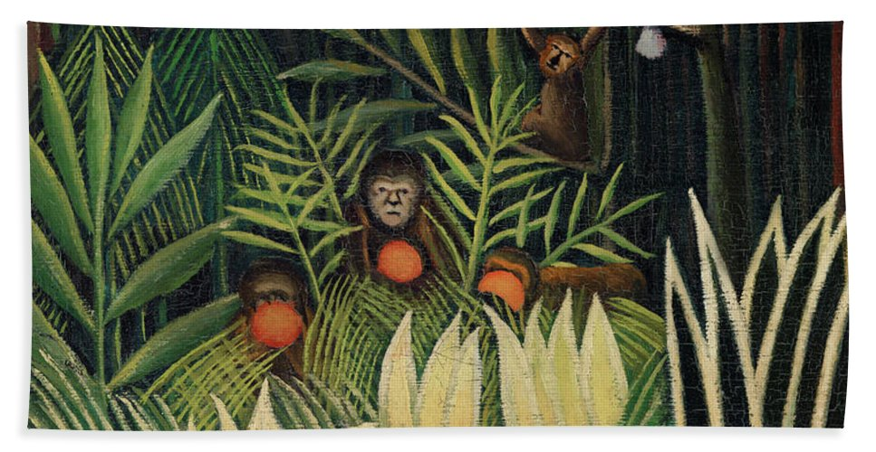 Monkeys and Parrot in the Virgin Forest by Henri Rousseau - Beach Towel