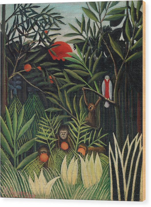 Monkeys and Parrot in the Virgin Forest by Henri Rousseau - Wood Print