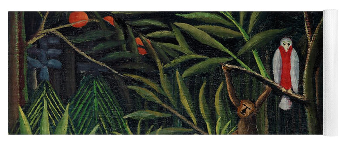 Monkeys and Parrot in the Virgin Forest by Henri Rousseau - Yoga Mat