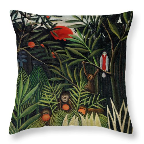 Monkeys and Parrot in the Virgin Forest by Henri Rousseau - Throw Pillow