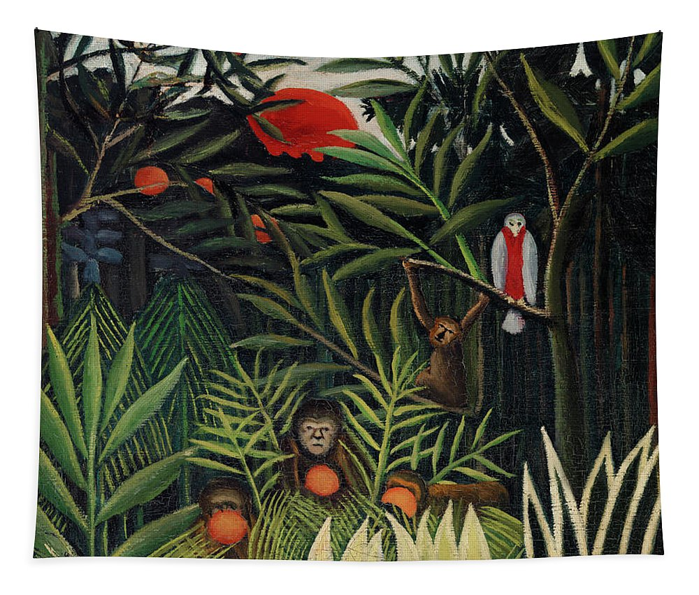 Monkeys and Parrot in the Virgin Forest by Henri Rousseau - Tapestry
