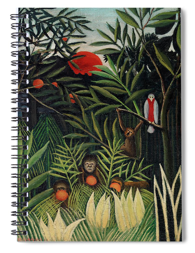 Monkeys and Parrot in the Virgin Forest by Henri Rousseau - Spiral Notebook