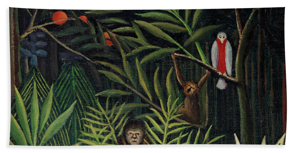 Monkeys and Parrot in the Virgin Forest by Henri Rousseau - Bath Towel