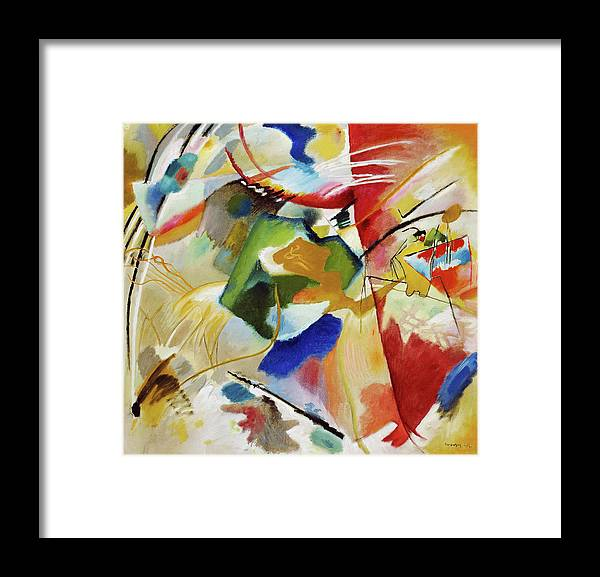 Painting with Green Center by Wassily Kandinsky - Framed Print