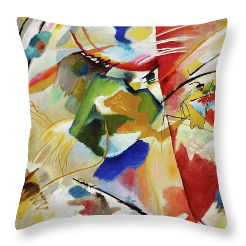 Painting with Green Center by Wassily Kandinsky - Throw Pillow