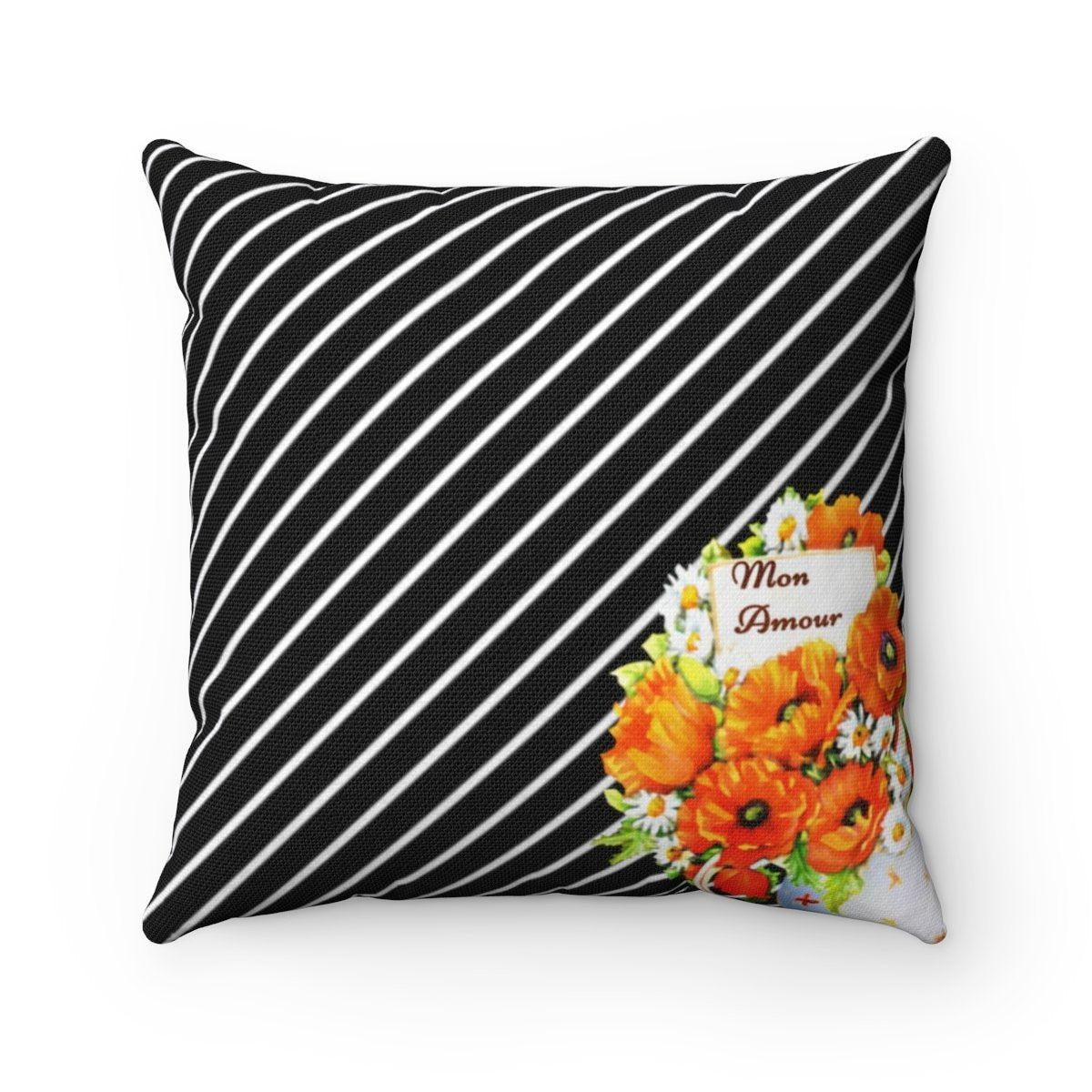 Paris | Love | mon amour | Valentine Striped Floral decorative cushion cover-Home Decor - Decorative Accents - Pillows & Throws - Decorative Pillows-Maison d'Elite-14x14-Très Elite