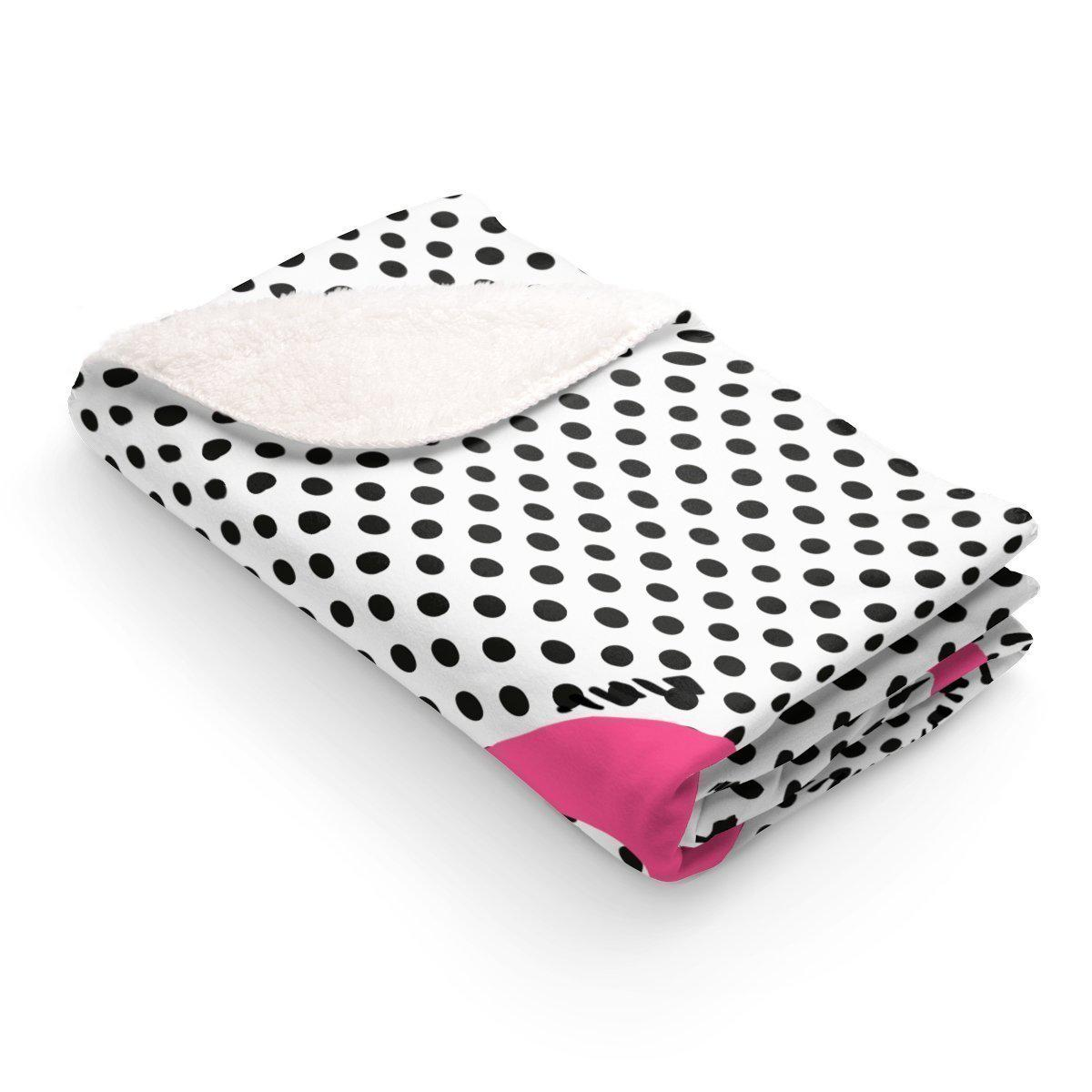 Pink anchor on polka Sherpa Fleece Blanket-Home - Throws & Blankets-Maison d'Elite-50x60-Très Elite