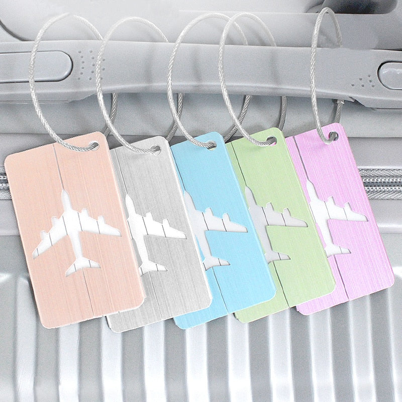 Travel Accessories Luggage Tag Cover Creative Metallic Aircraft Suitcase ID Address Holder Baggage Boarding Tags Portable Label