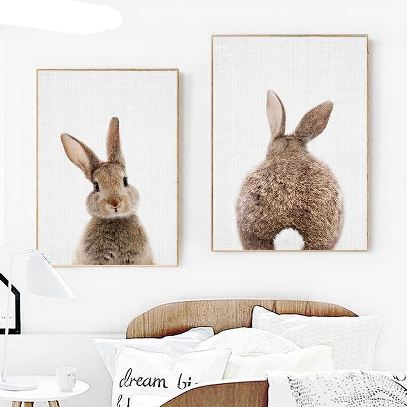 Bunny Printed Canvas Poster for Nursery or Kid's room