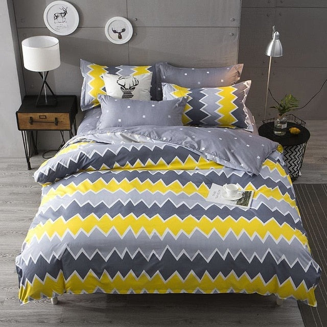 4pcs set of Modern Printed Duvet Cover And Pillowcases