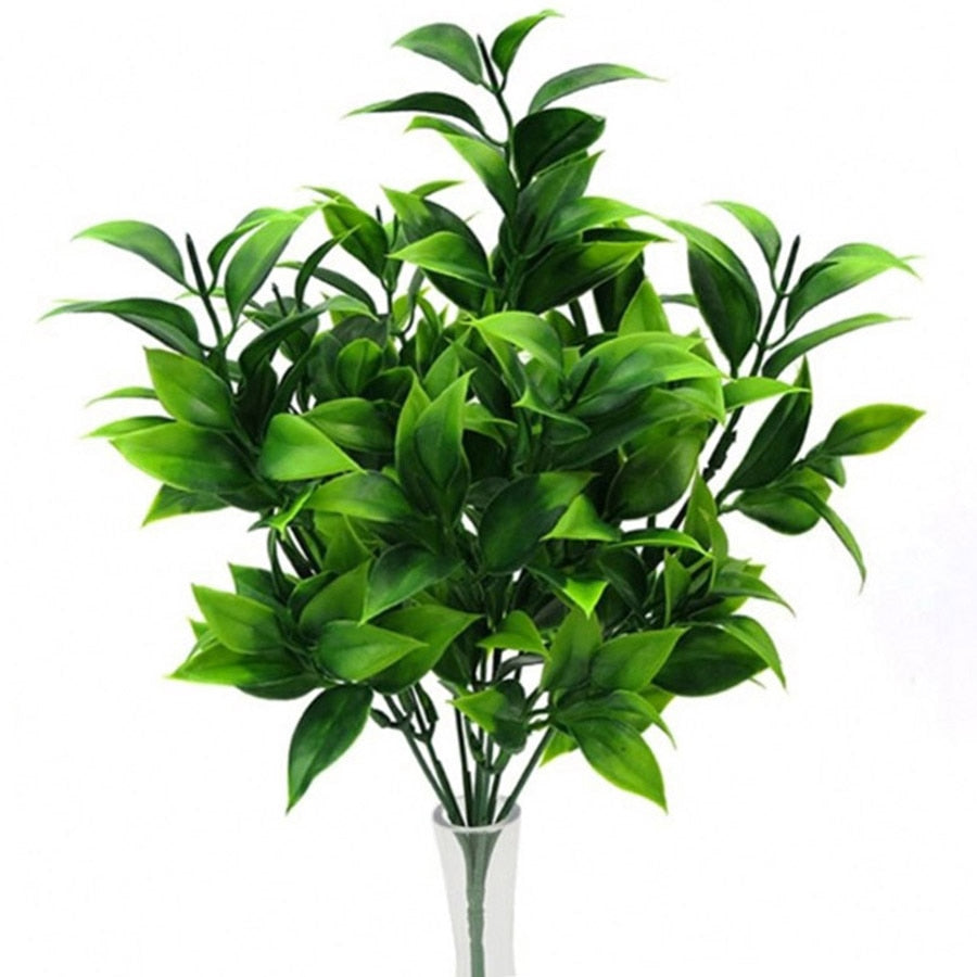 7 branches in 1 green artificial plants for decoration