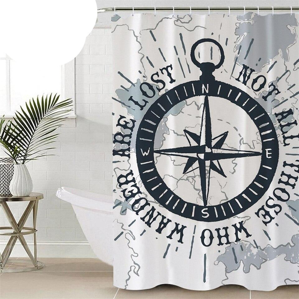 Compass Decorative Curtain for Bathroom