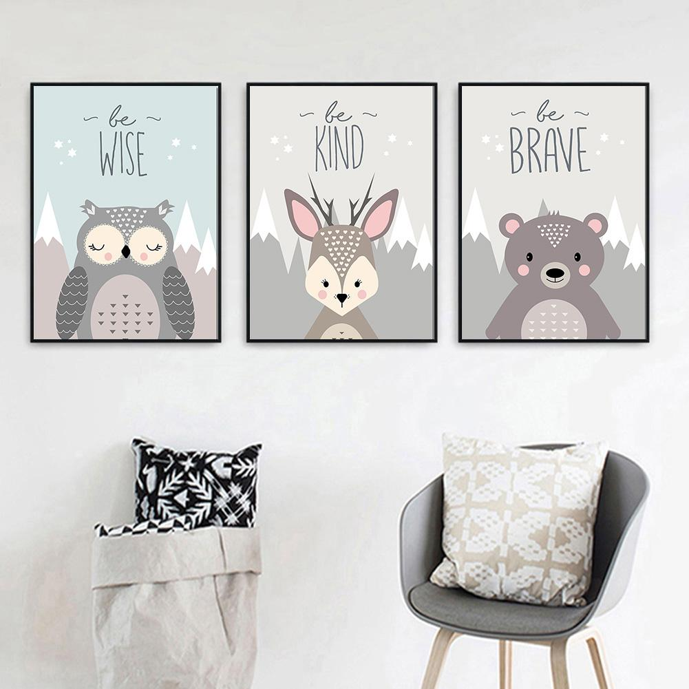 Unframed Nursery Cartoon Nordic Canvas Print Poster