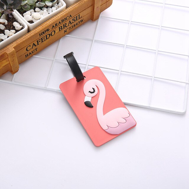 Travel Accessories Silica Gel Luggage Tags Cute Cartoon Flamingo Suitcase ID Address Holder Baggage Boarding Tag Portable Label