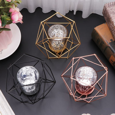 Nordic Style 3D Geometric Candlestick Metal Candle Holder Wedding Home Decor